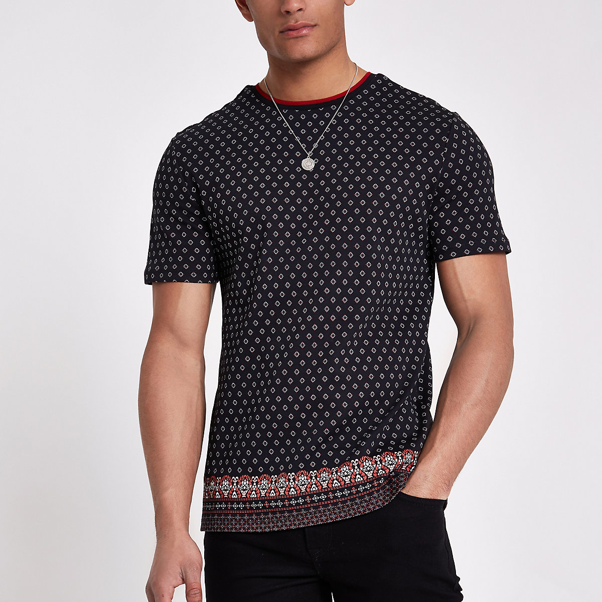 Black tile print slim fit T-shirt