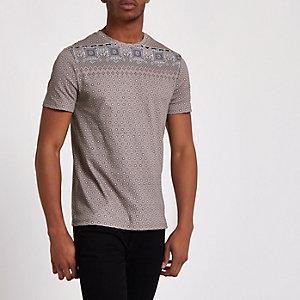 T-shirt slim à imprimé mosaïque grège