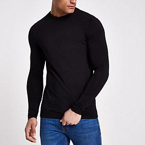 Zwart aansluitend T-shirt met lange mouwen