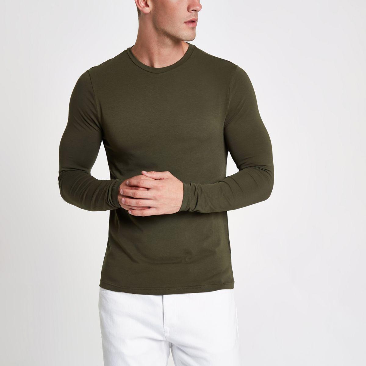 Khaki muscle fit long sleeve T-shirt