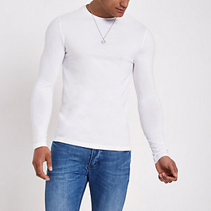 White muscle fit long sleeve T-shirt 97dfddd7130