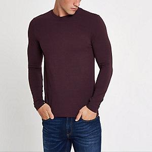 T-shirt ajusté rouge à manches longues