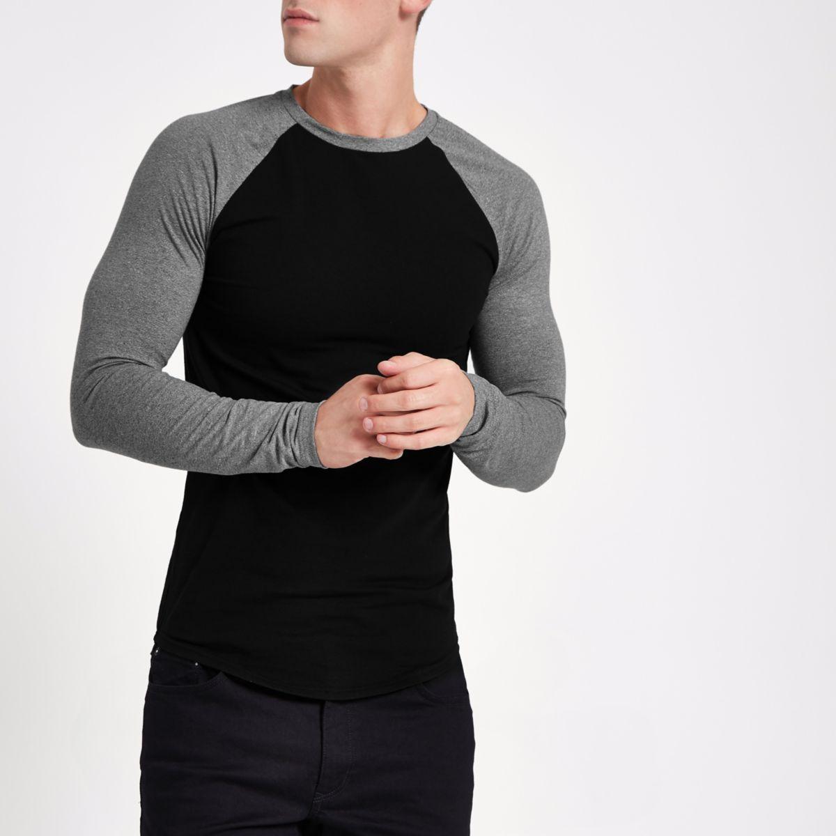 Black raglan long  sleeve muscle fit T-shirt