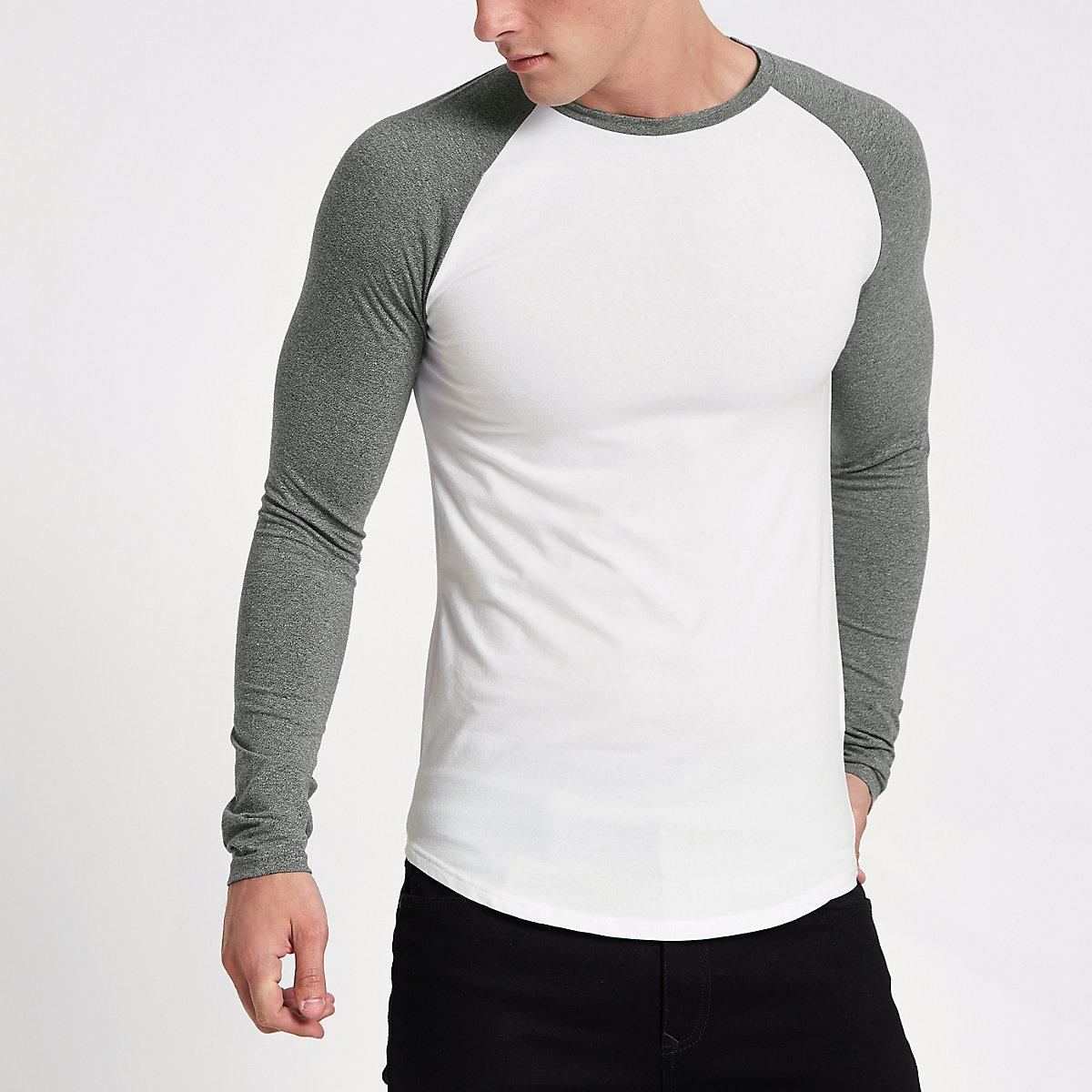 White raglan long sleeve muscle fit T-shirt