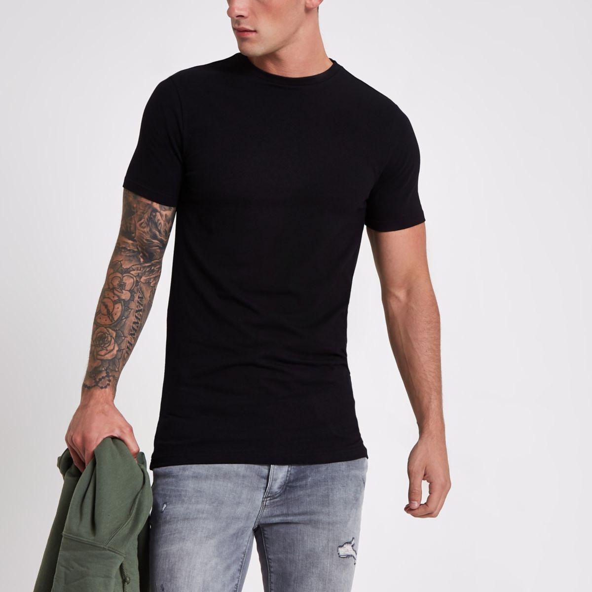 T-shirt long ajusté noir