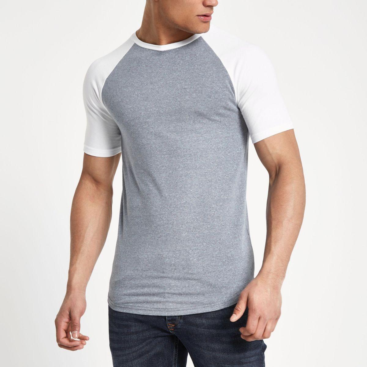 Navy Marl Muscle Fit Raglan T Shirt by River Island