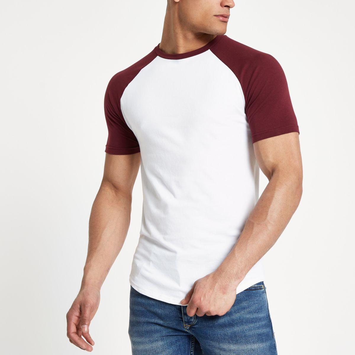 White raglan short sleeve muscle T-shirt