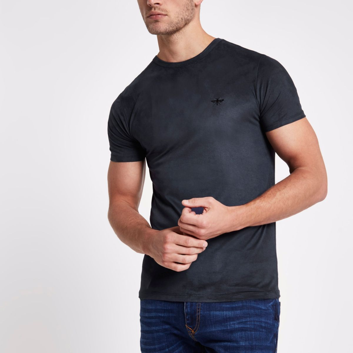 Navy faux suede muscle fit T-shirt
