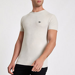 Ecru wasp faux suede muscle fit T-shirt