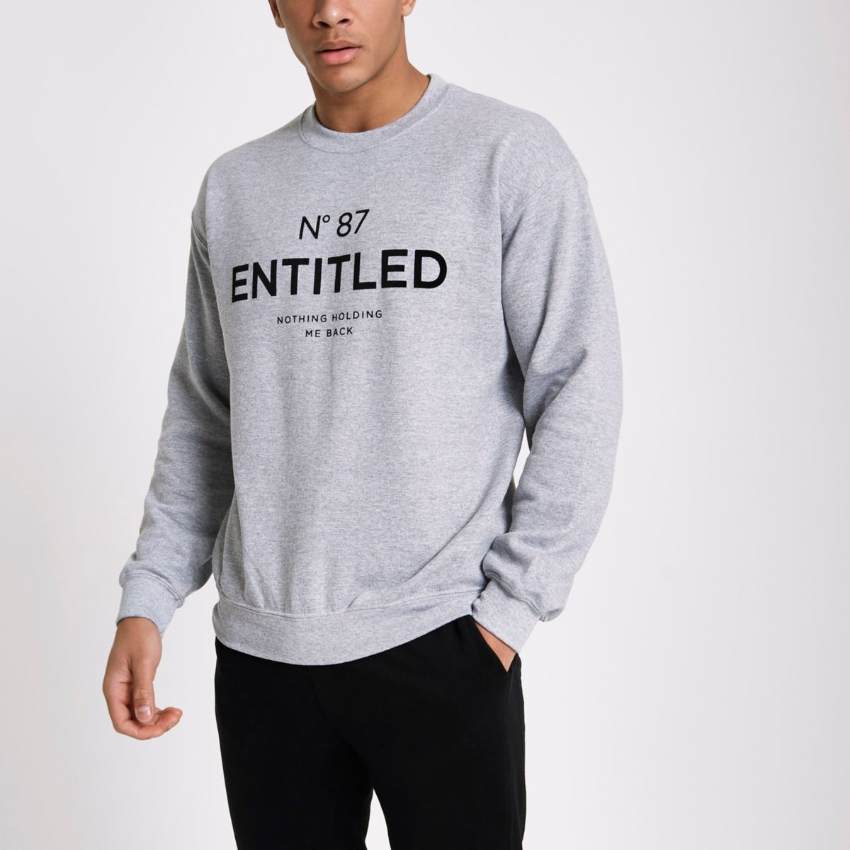 Grey slim fit 'entitled' flock sweatshirt