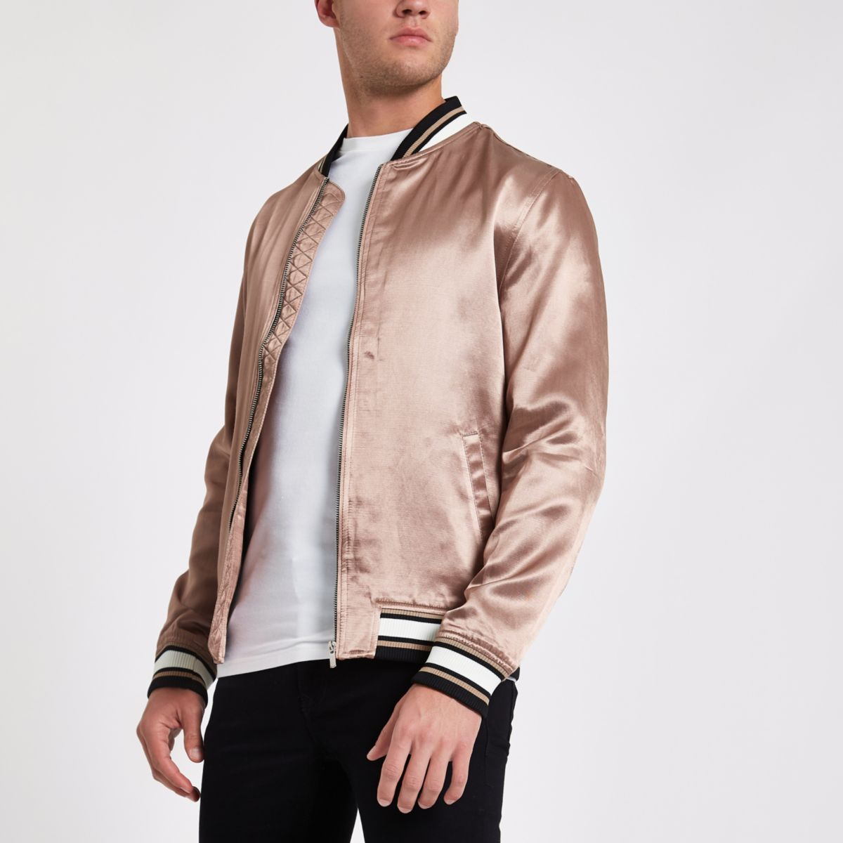 Dusty pink satin look bomber jacket