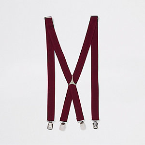 Burgundy belt suspenders