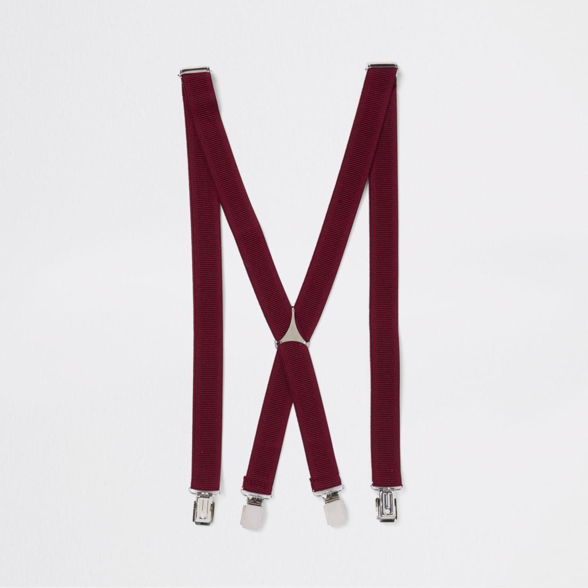 Burgundy belt suspenders