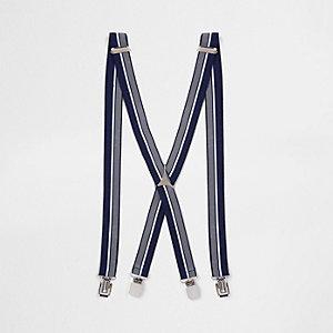 Bretelles rayées bleu marine