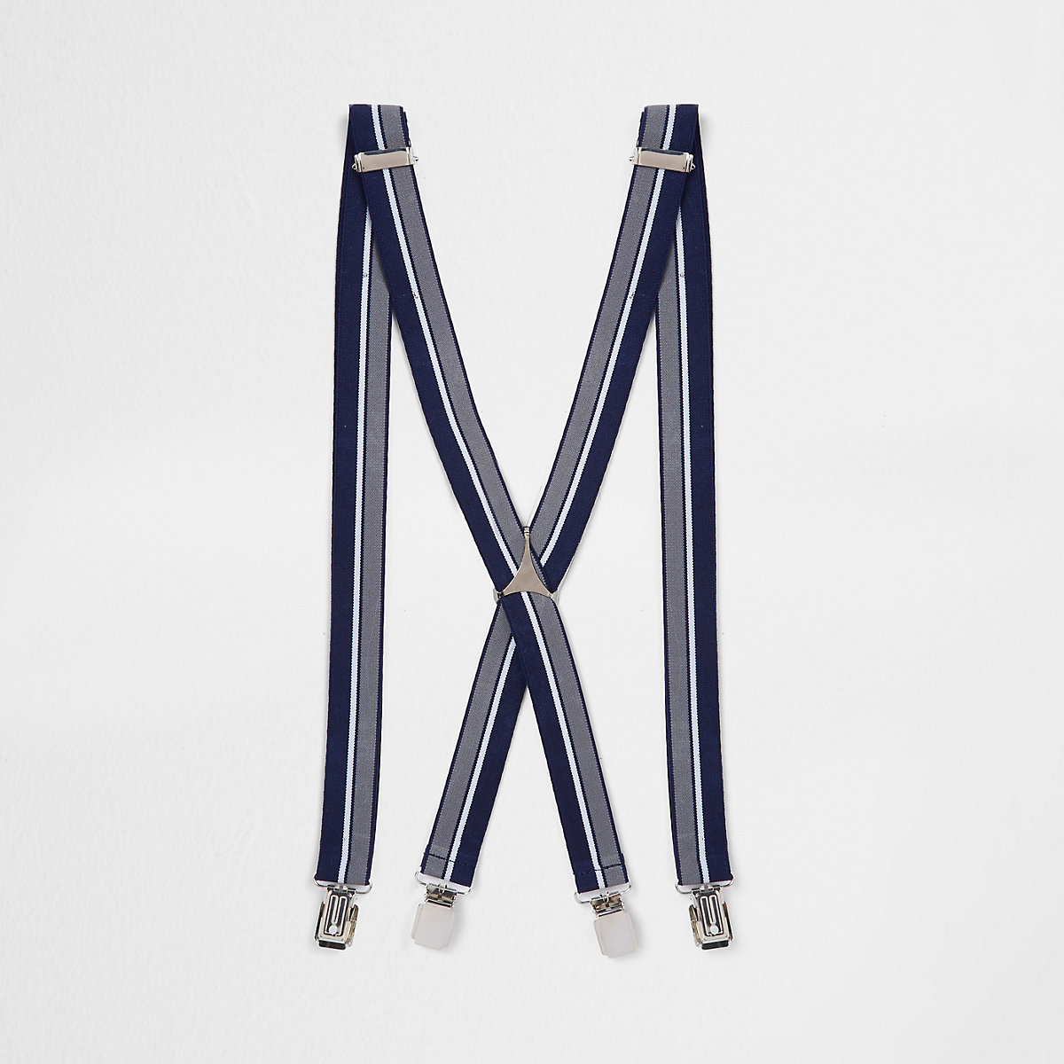 Navy stripe belt braces