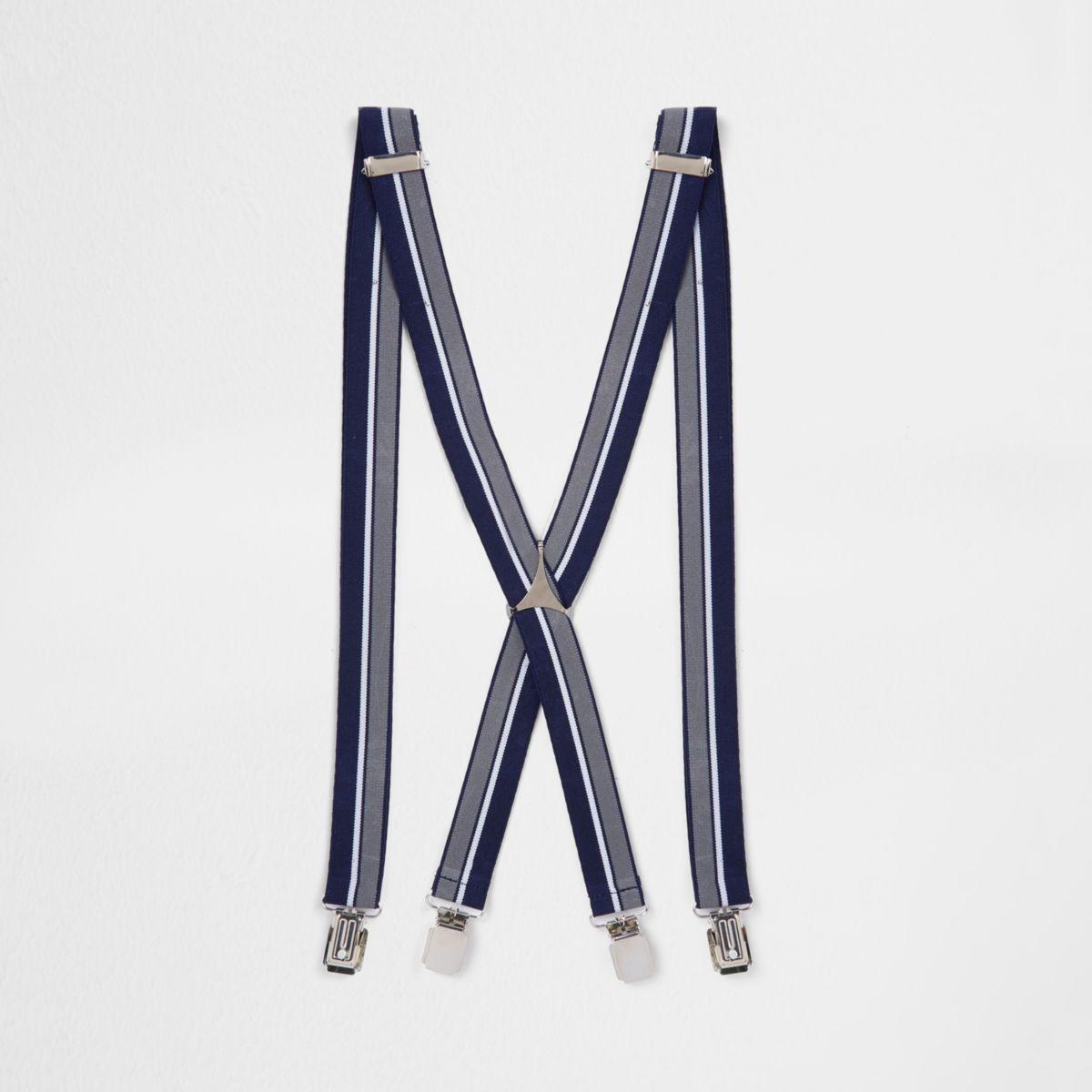 Navy stripe belt suspenders