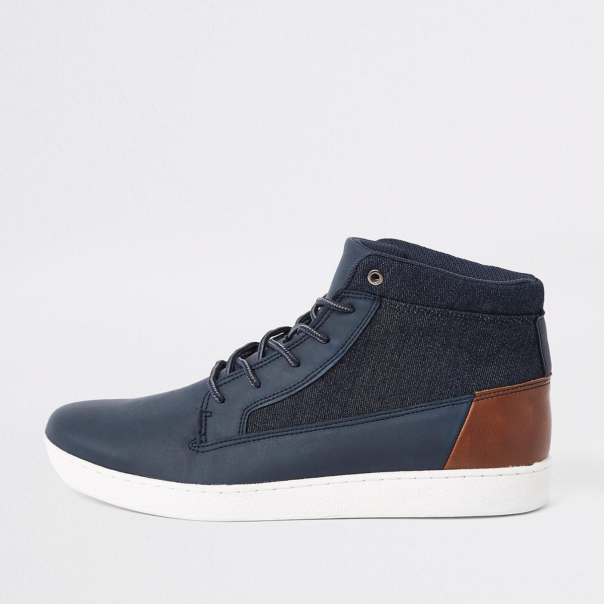 Navy denim mid top sneakers
