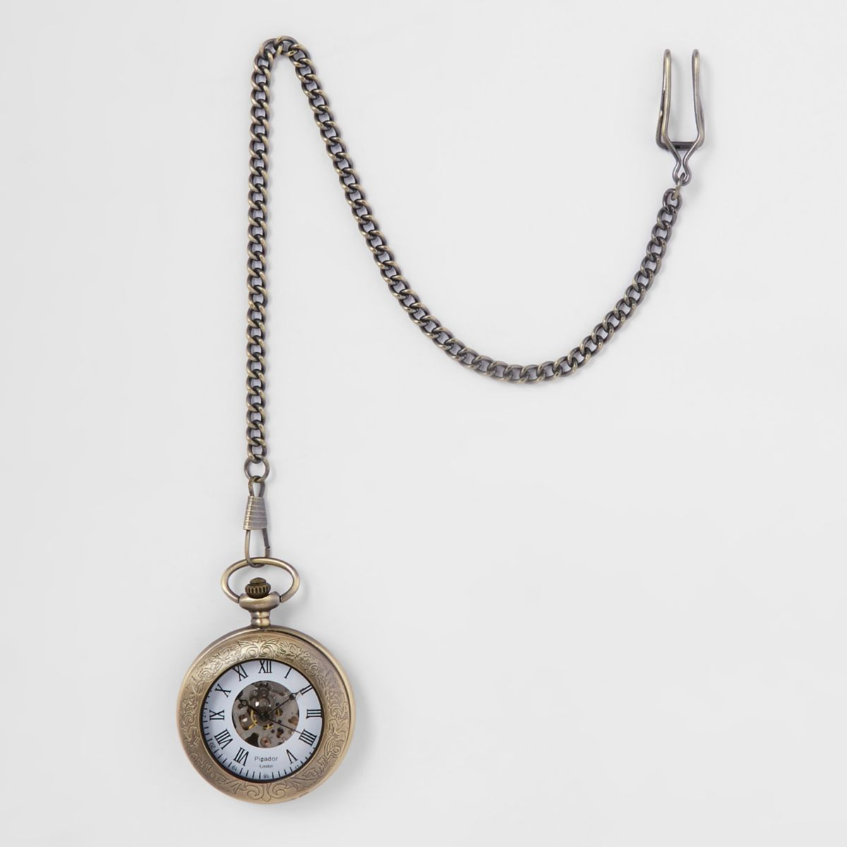 Gold tone open front pocket watch