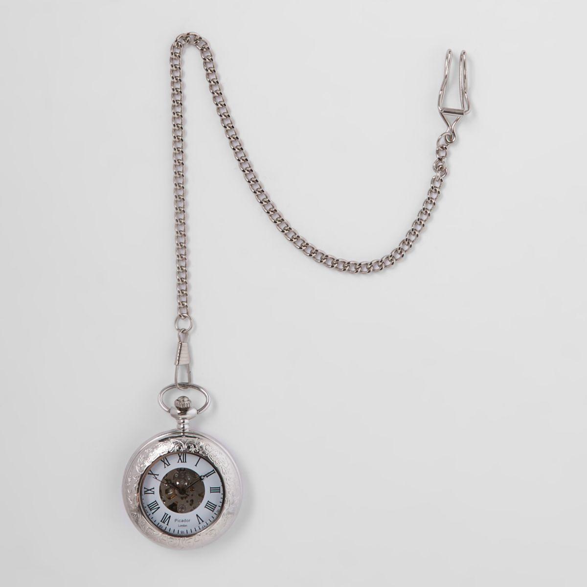 Silver tone open front pocket watch