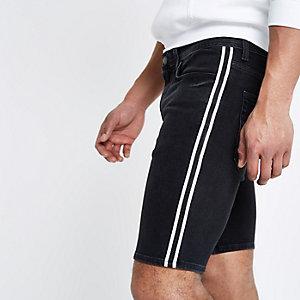 Short en jean skinny noir à bande sur le côté