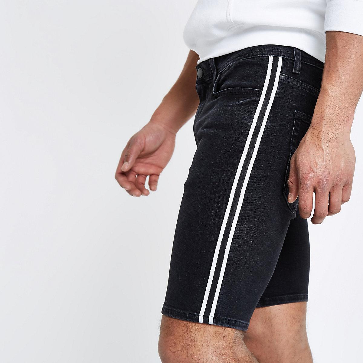 Schwarze Skinny Jeansshorts