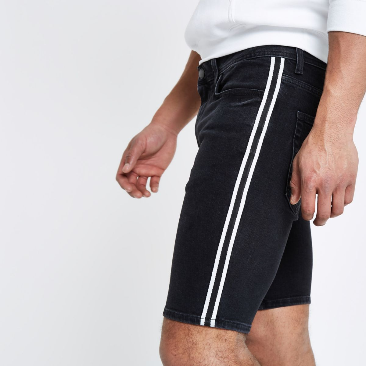 Black skinny tape side denim shorts