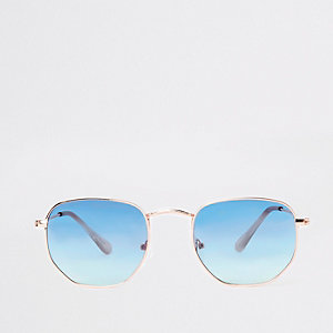 Blue lens hexagon sunglasses