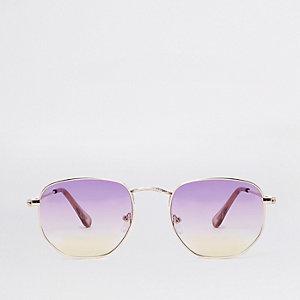 Sechseckige Sonnenbrille in Lila