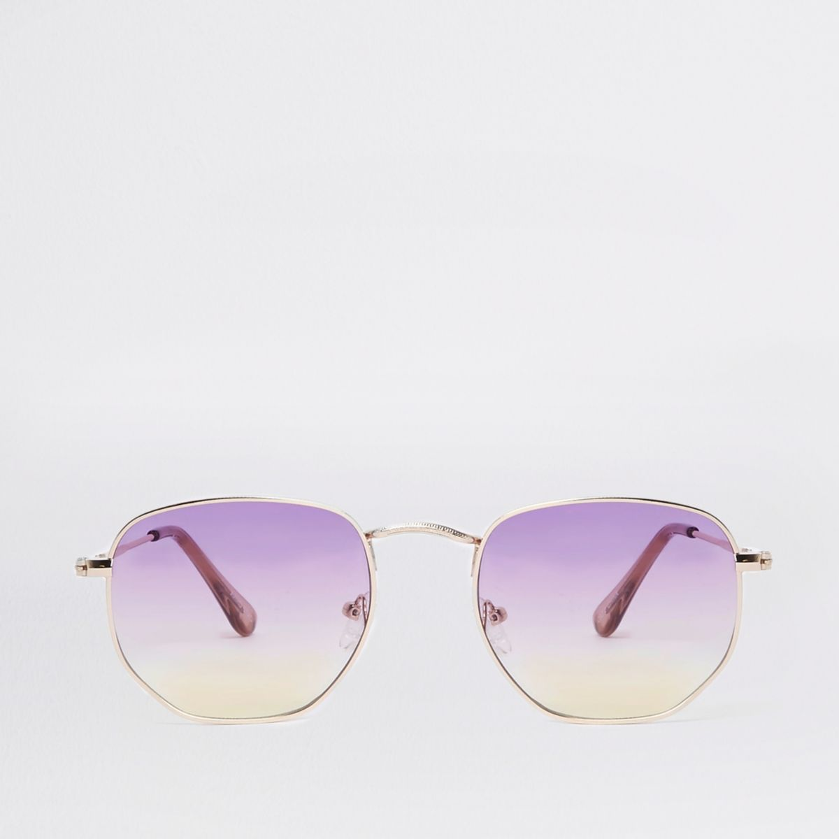 Purple lens hexagon sunglasses