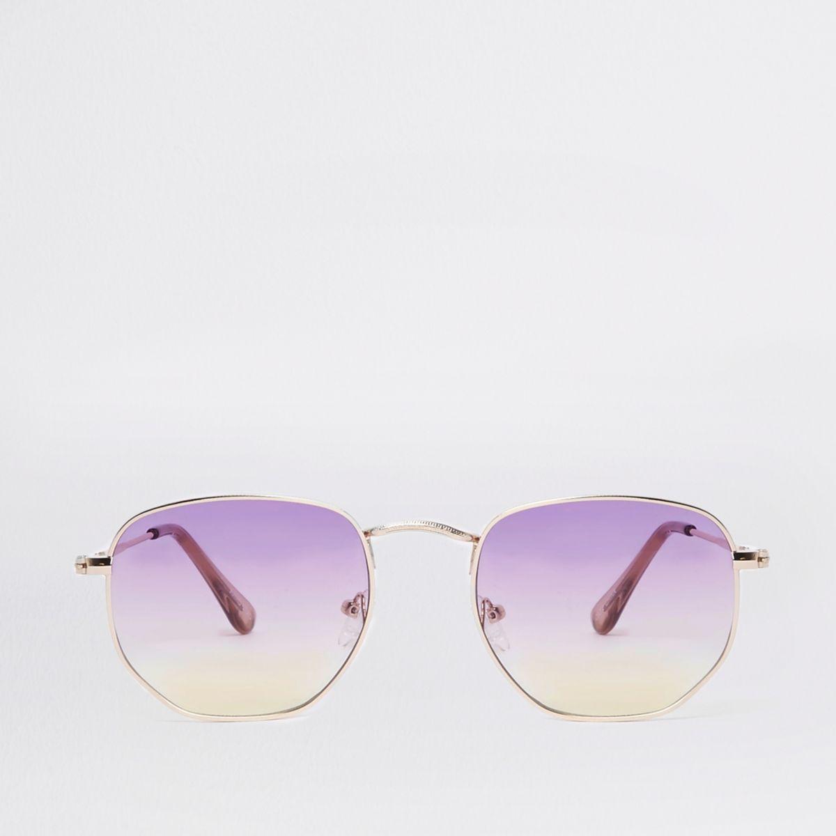 Zeshoekige zonnebril met paarse glazen