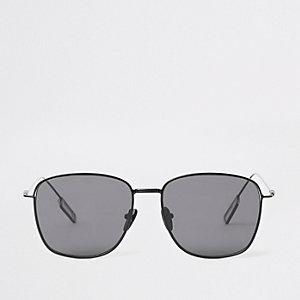 Zwarte zeshoekige zonnebril