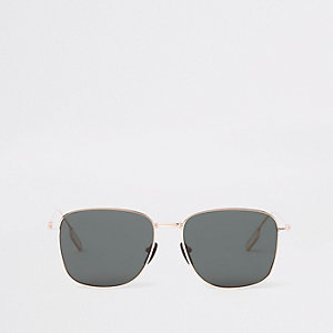 Gold tone hexagon smoke lens sunglasses