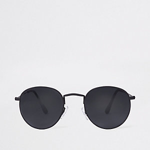 Black rubber round sunglasses