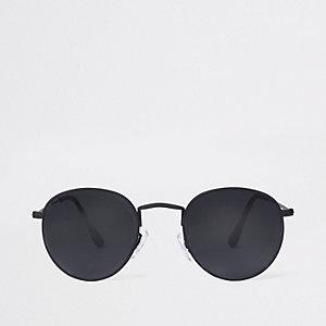 Zwarte rubberen zonnebril met ronde glazen