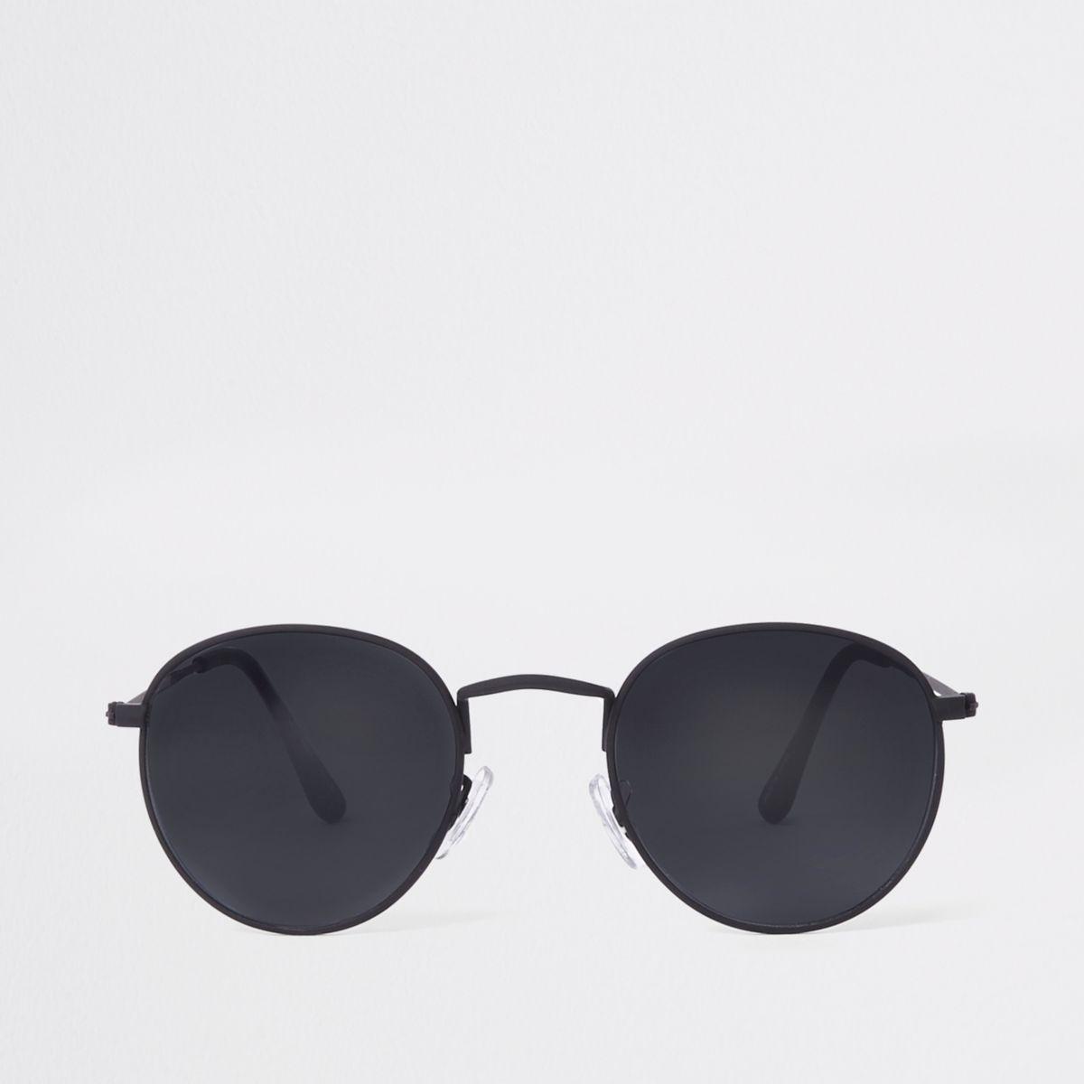 Black rubber round sunglasses