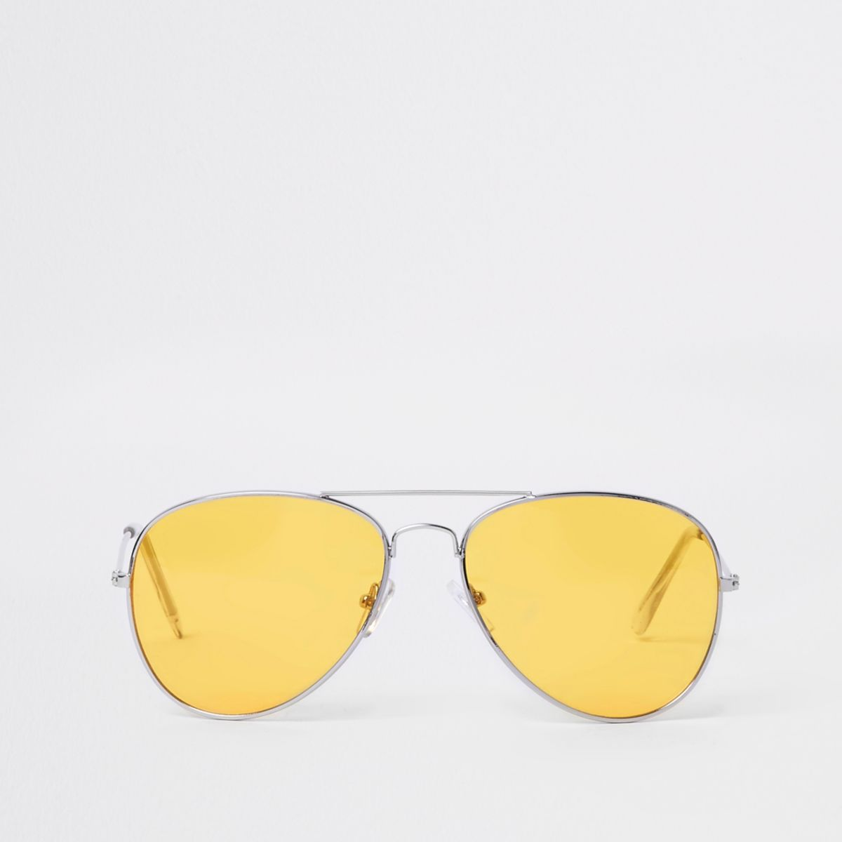 Silver yellow lens aviator sunglasses