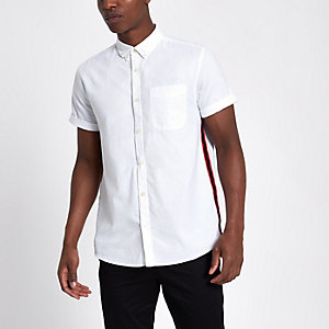 White short sleeve side stripe  Oxford Shirt