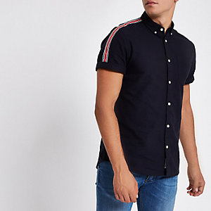 Navy tape short sleeve Oxford shirt