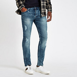 Only & Sons blue wash slim fit ripped jeans