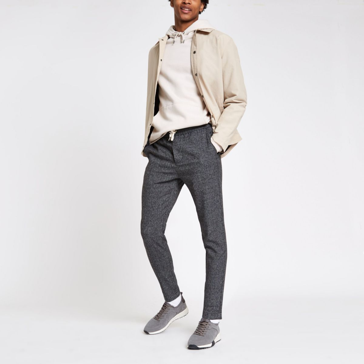 Only & Sons grey check drawstring pants