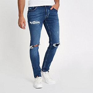 Sid - Blauwe ripped skinny jeans