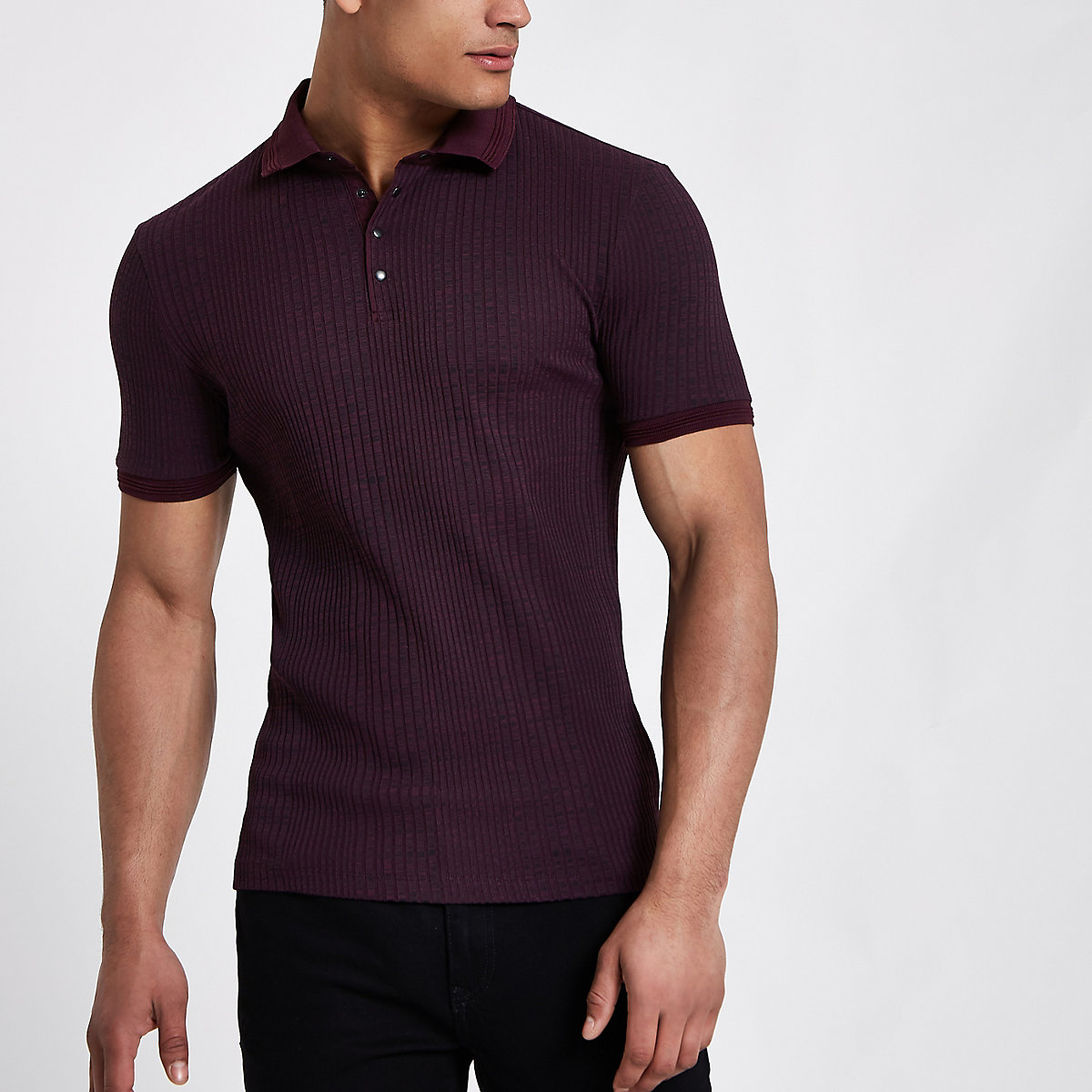 Dark red chunky rib muscle fit polo shirt