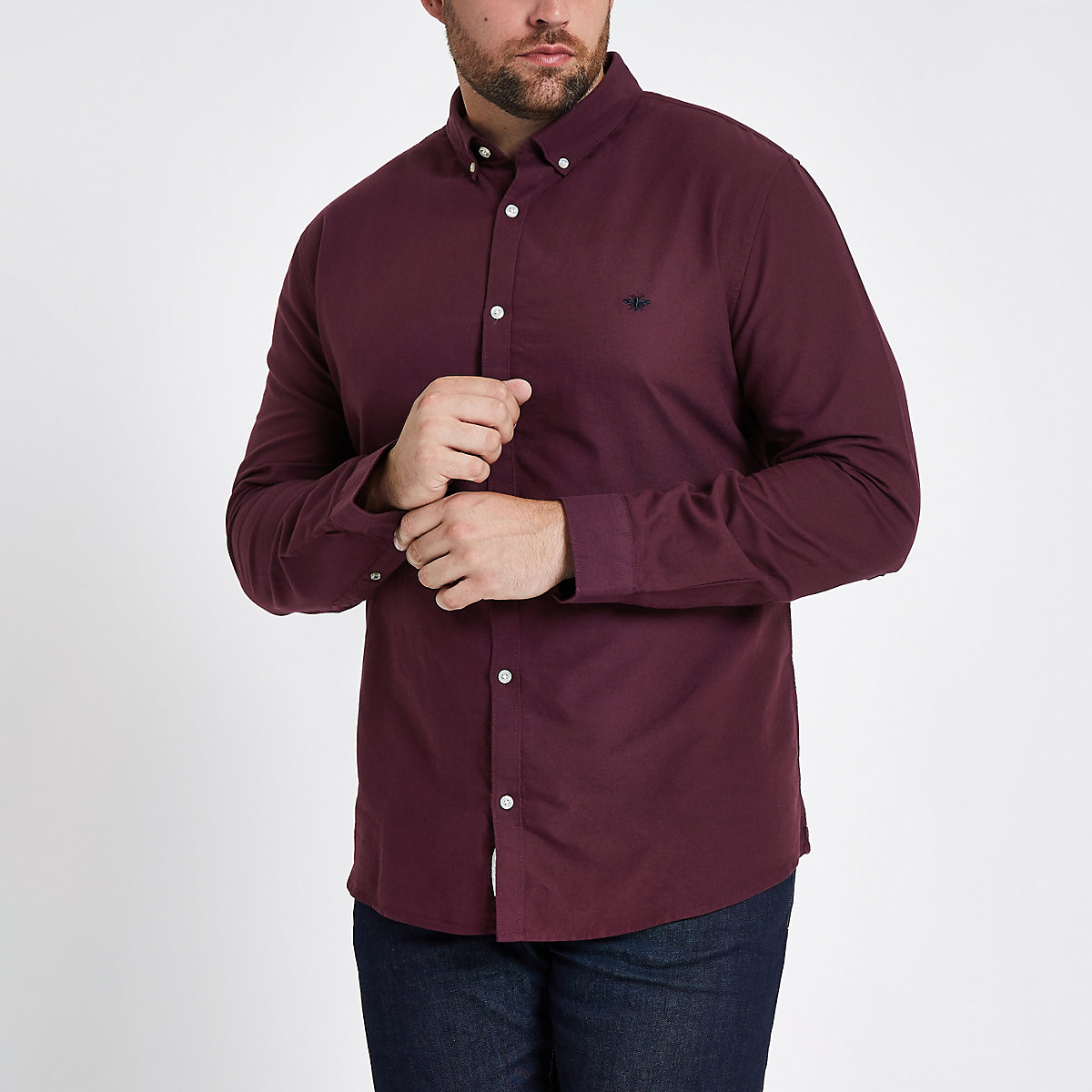Big and Tall dark red Oxford shirt
