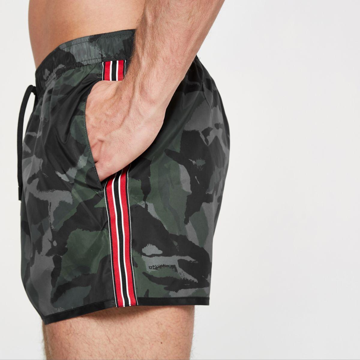 Khaki camo tape side swim shorts