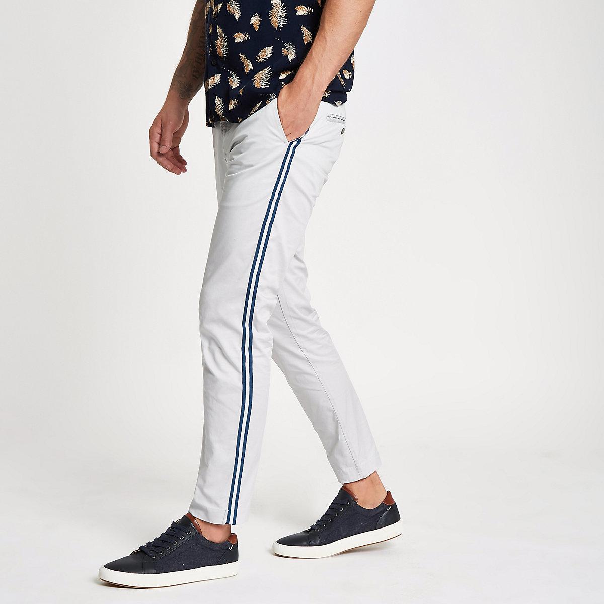 Grey tape side skinny fit pants