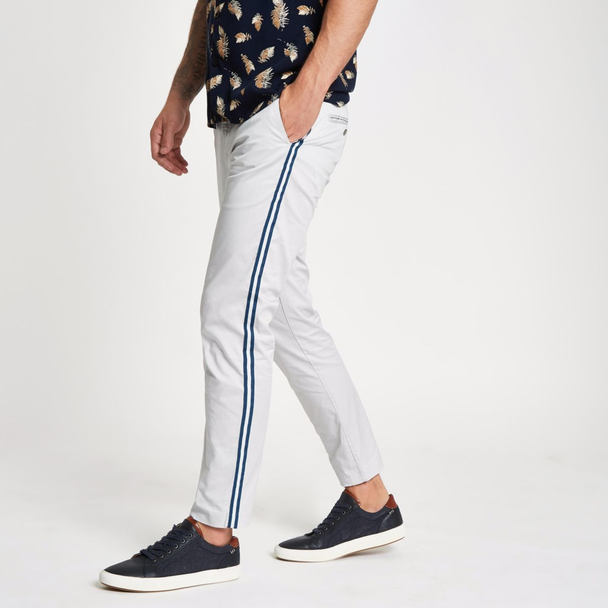 Grey tape side skinny fit trousers
