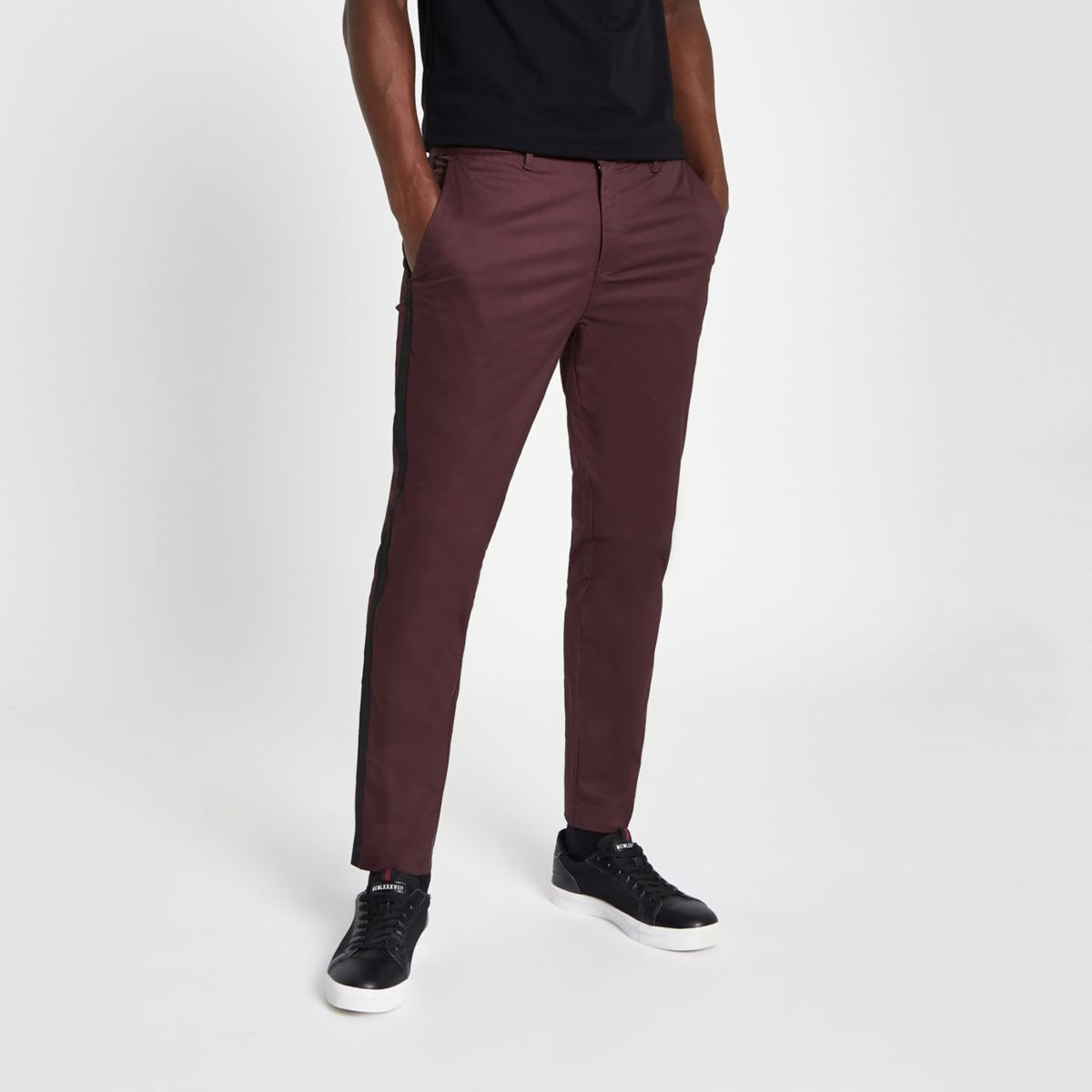 Dark red tape side skinny fit chino trousers