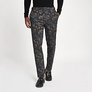 Blue crane print skinny smart trousers