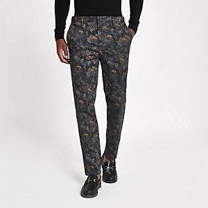 Blue crane print skinny smart trousers