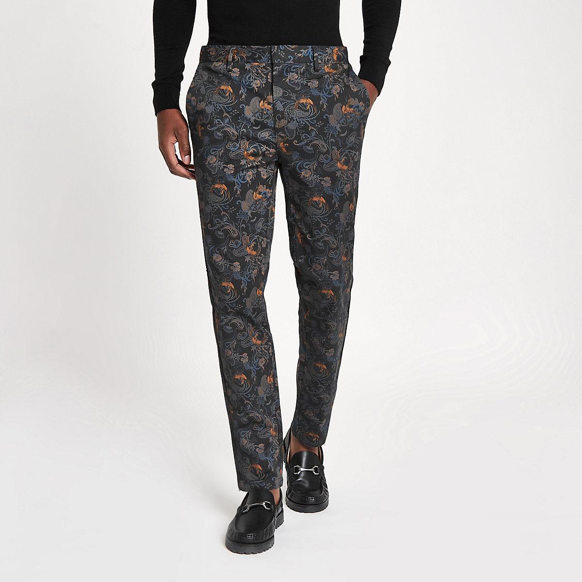 Blue crane print skinny smart pants
